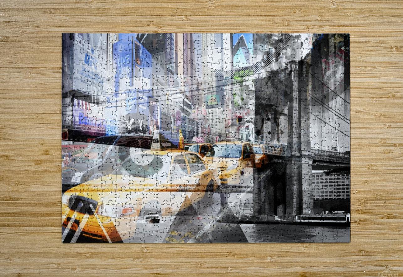 New York City Geometric Mix No. 9  Impression métal HD avec cadre flottant sur le dos