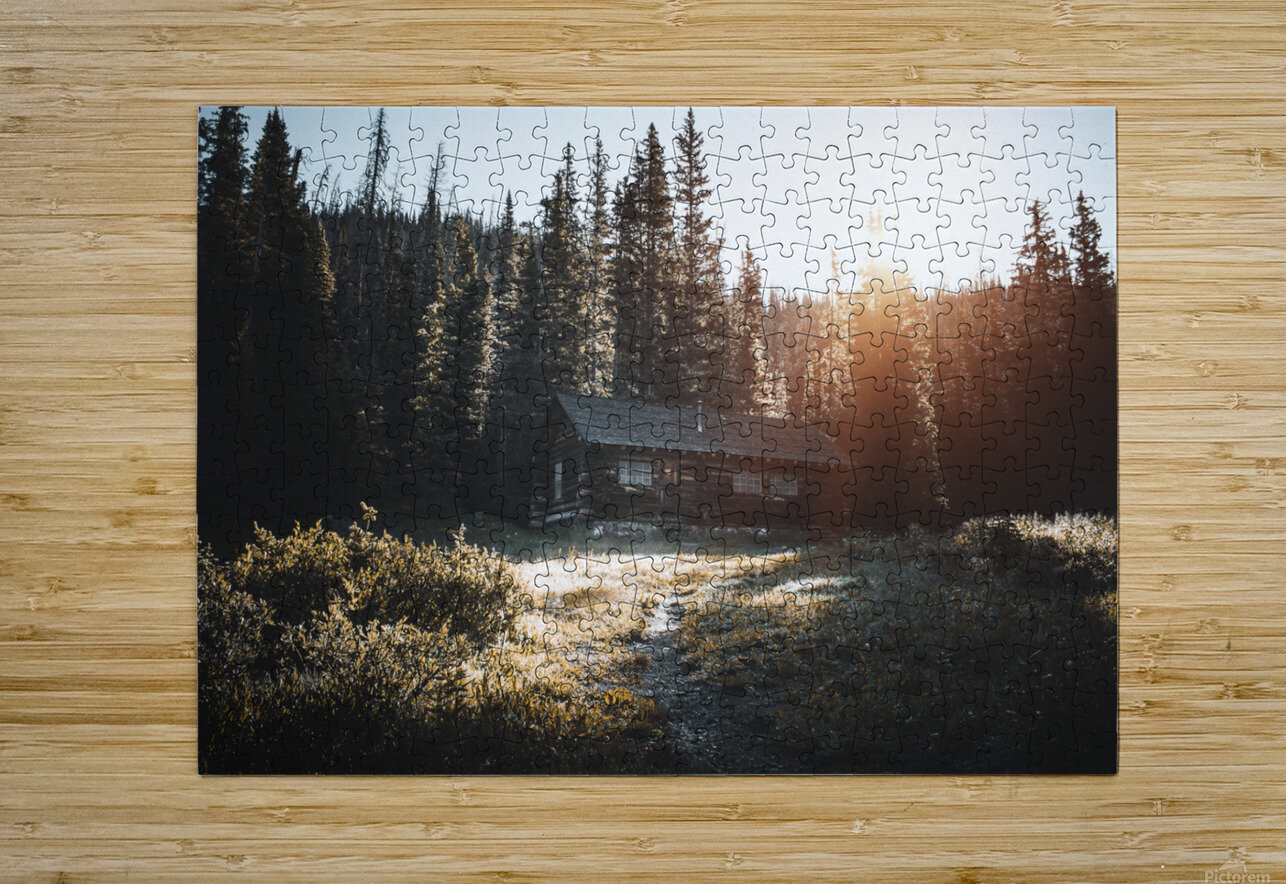Rocky Mountain Cabin  HD Metal print with Floating Frame on Back