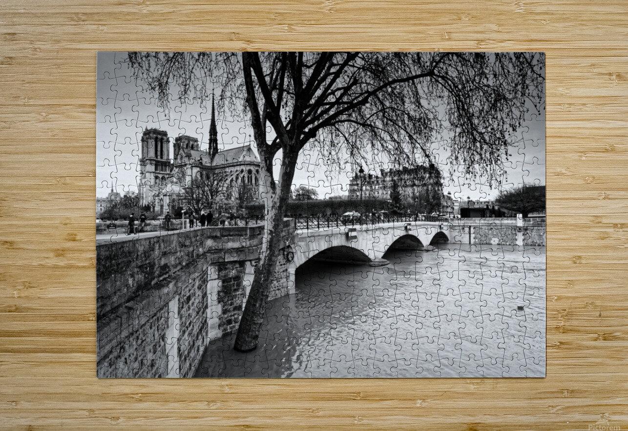 Seine river flood  Impression métal HD avec cadre flottant sur le dos