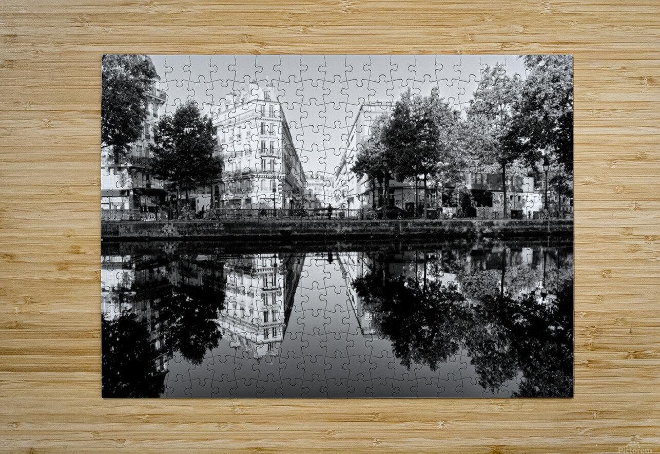 Canal Saint Martin reflection  Impression métal HD avec cadre flottant sur le dos