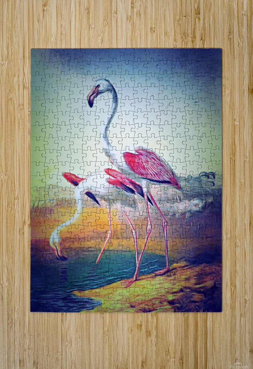 Regiment of Flamingoes  HD Metal print with Floating Frame on Back