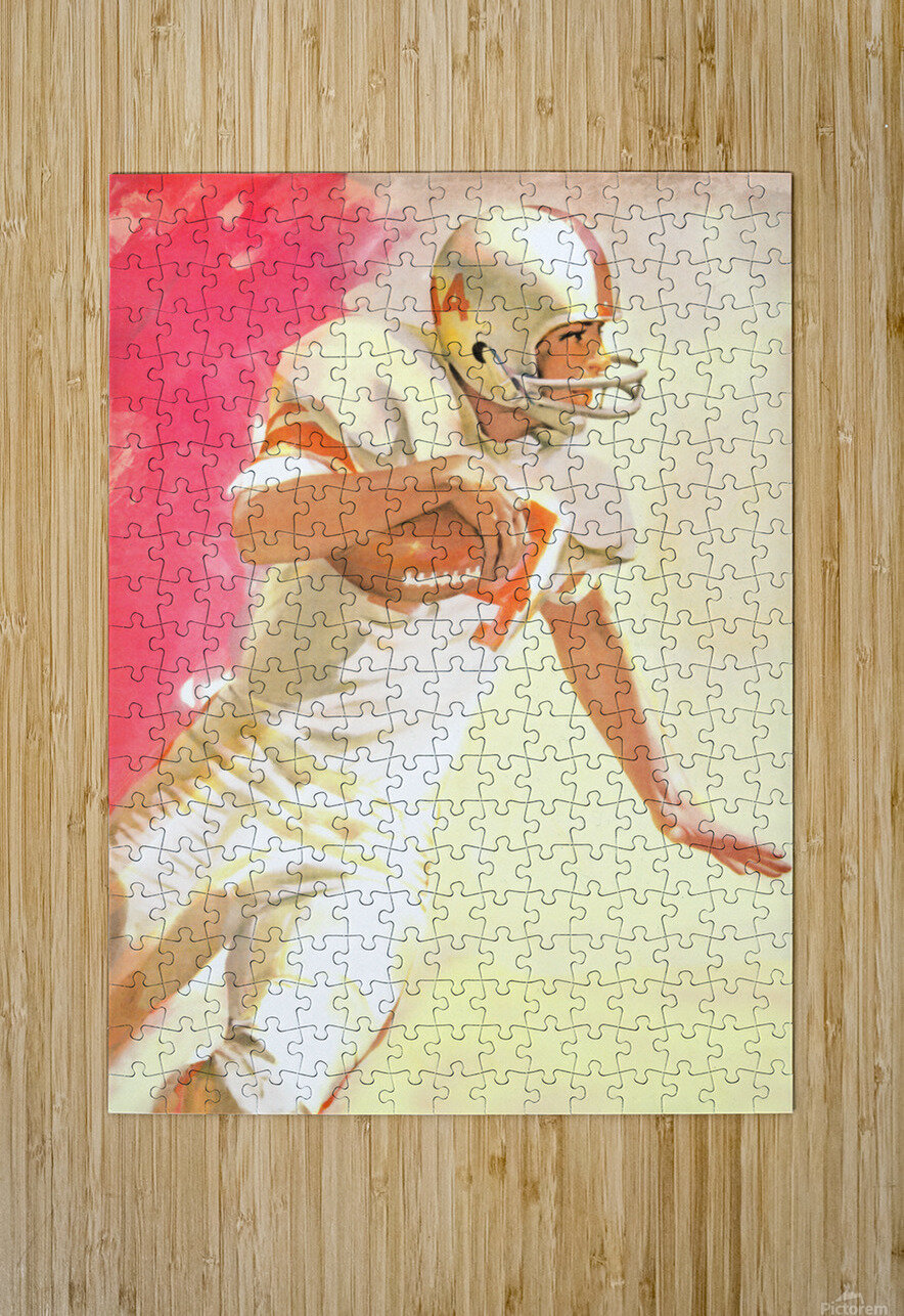 1963 Running Back Vintage Gridiron Wall Art  HD Metal print with Floating Frame on Back