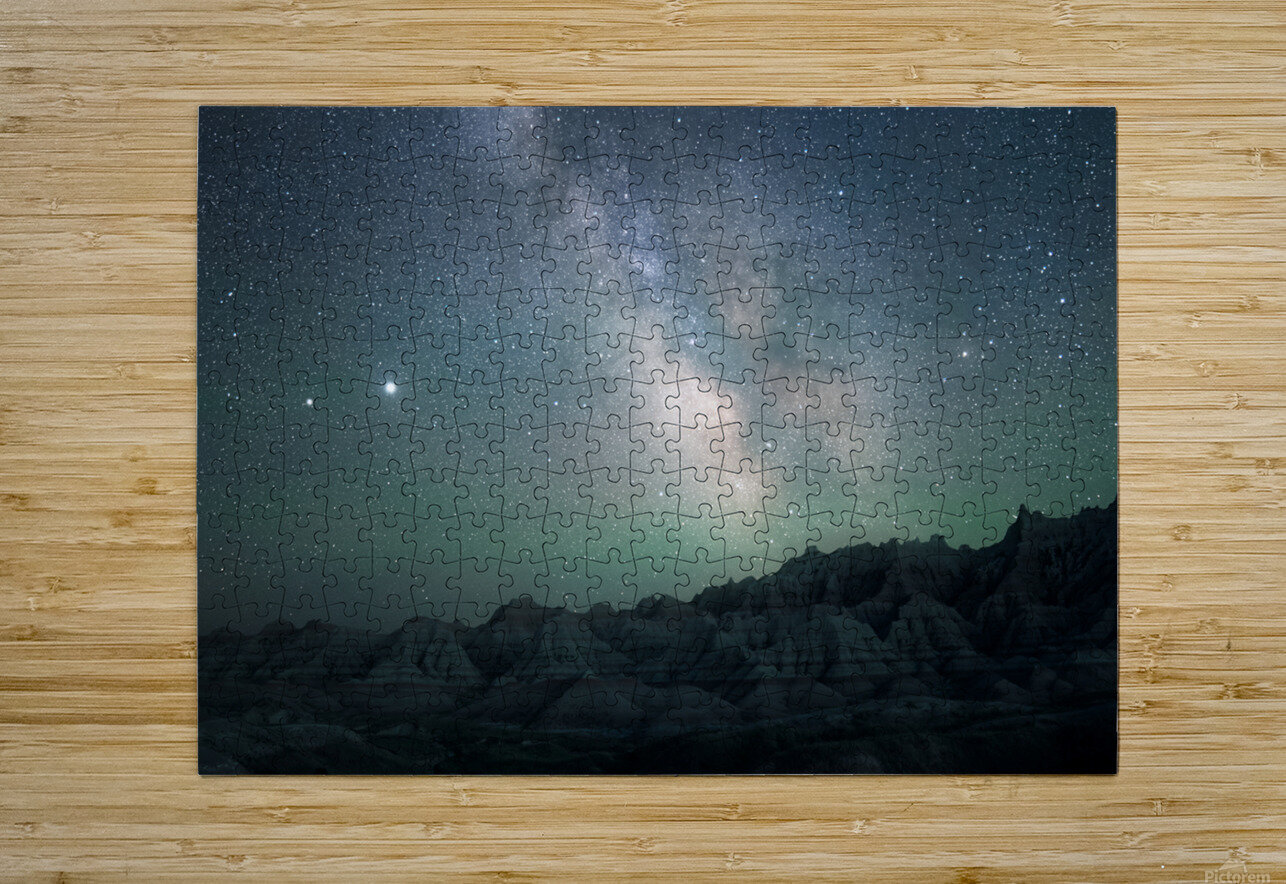 Milky Way Above The Badlands  HD Metal print with Floating Frame on Back