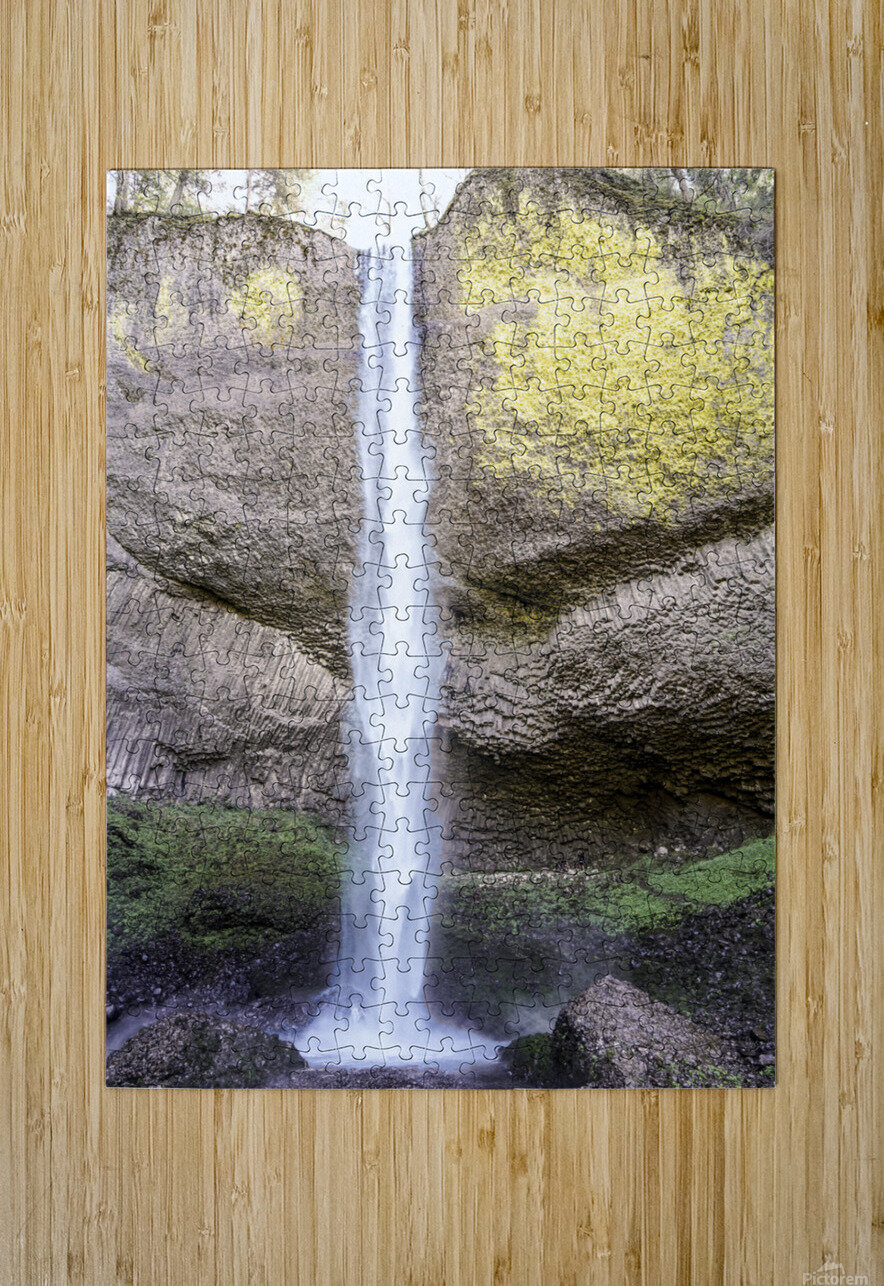 Spring at the Falls in The Gorge - Columbia River Oregon  HD Metal print with Floating Frame on Back