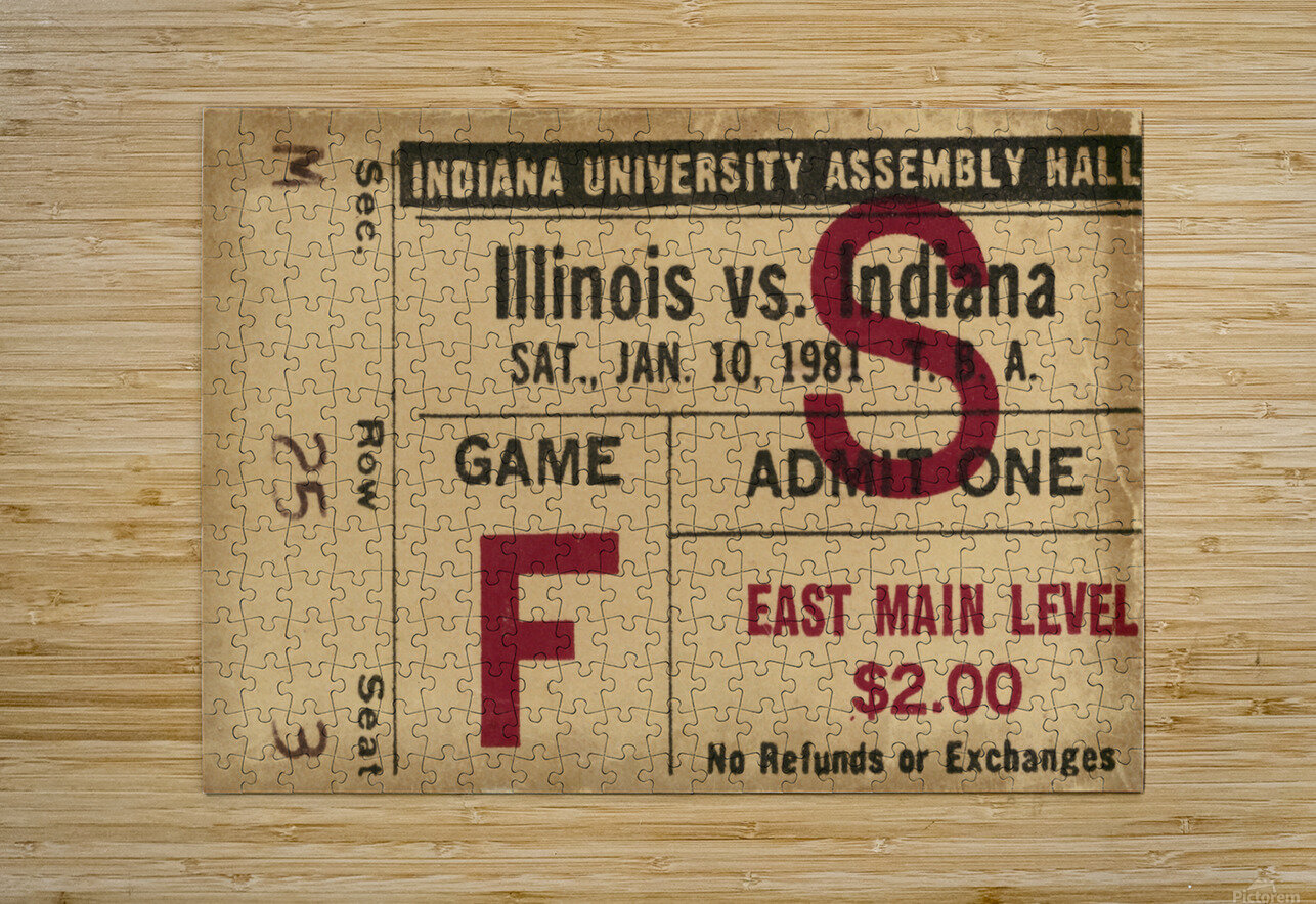 1981 Indiana vs. Illinois Basketball Ticket Art  HD Metal print with Floating Frame on Back