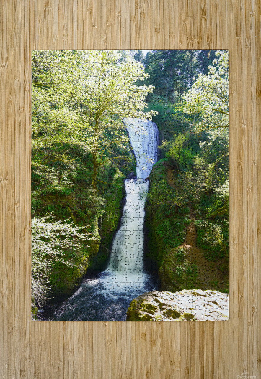 Falls in The Gorge 2   Columbia River Oregon  HD Metal print with Floating Frame on Back