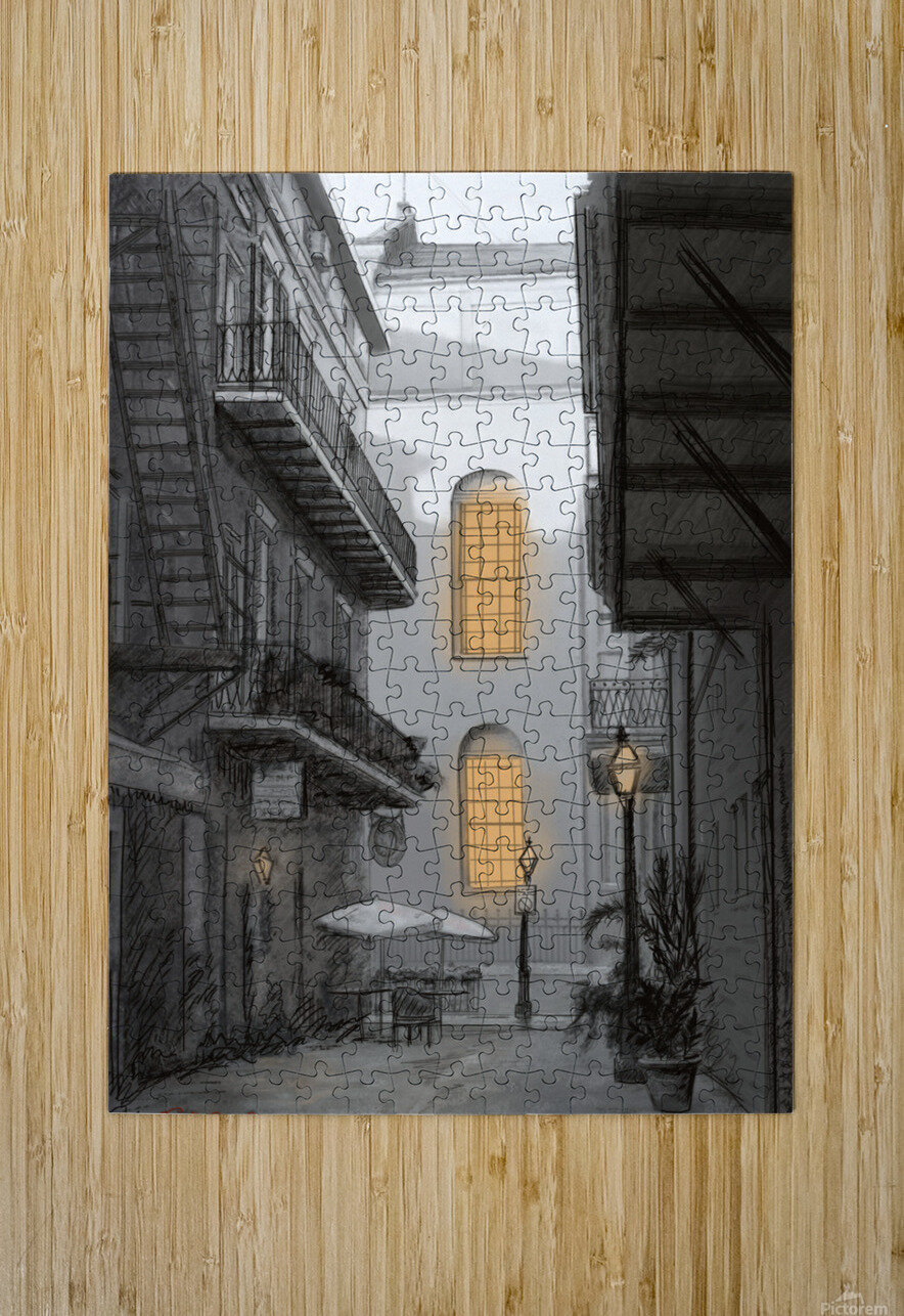Light in the alley a French quarter scene  HD Metal print with Floating Frame on Back