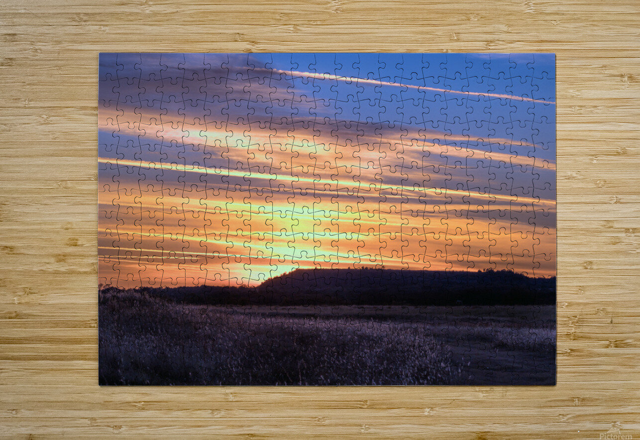 Table Top Mountain Sunset  HD Metal print with Floating Frame on Back