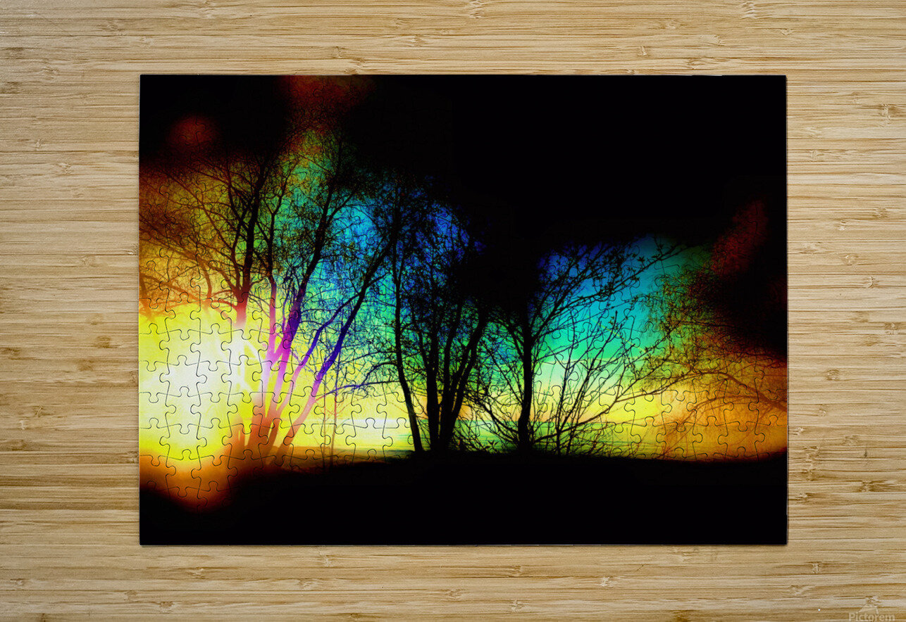 Evening tree  HD Metal print with Floating Frame on Back