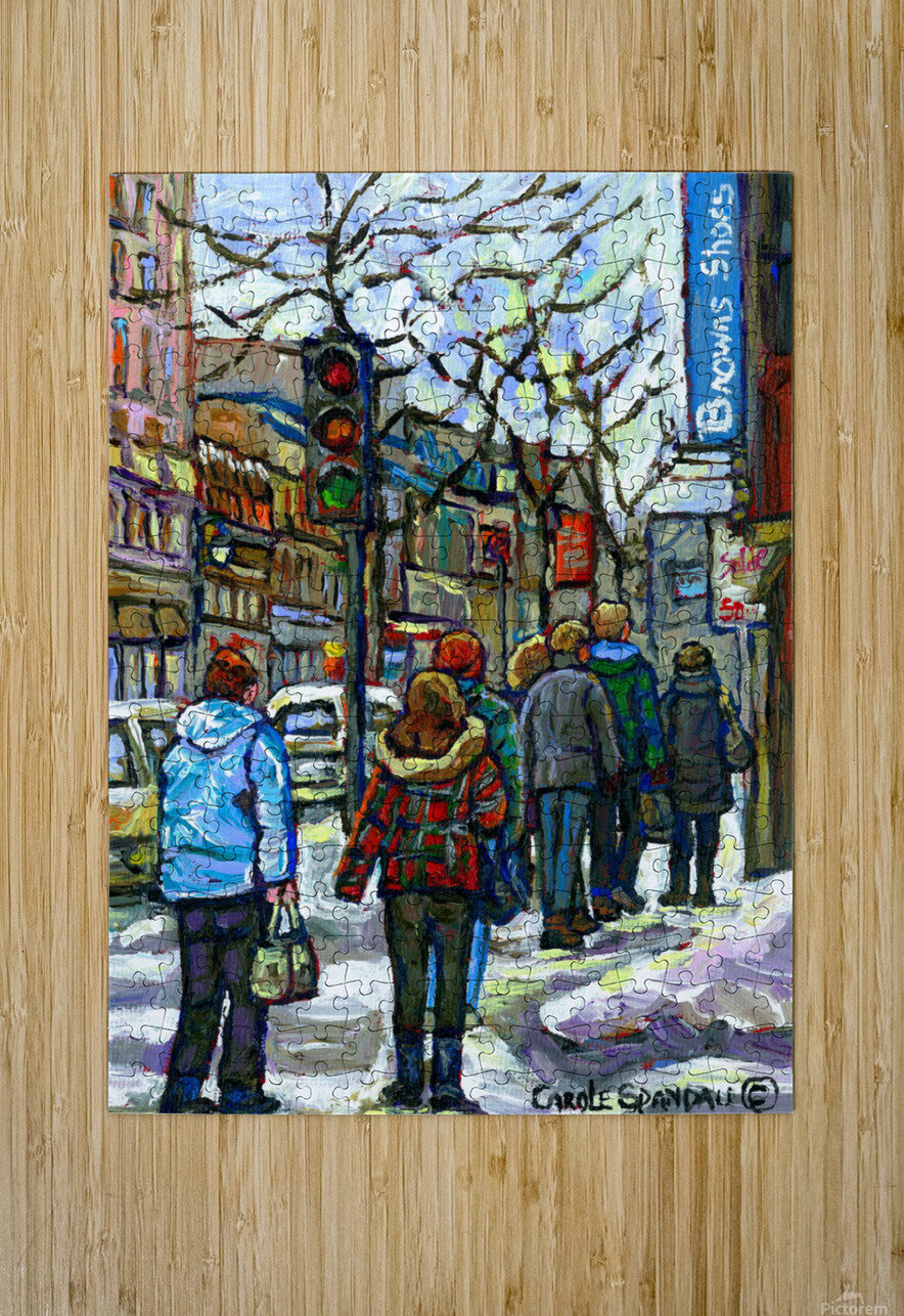 DOWNTOWN MONTREAL WINTER SCENE SHOPPERS ON ST. CATHERINE STREET  HD Metal print with Floating Frame on Back