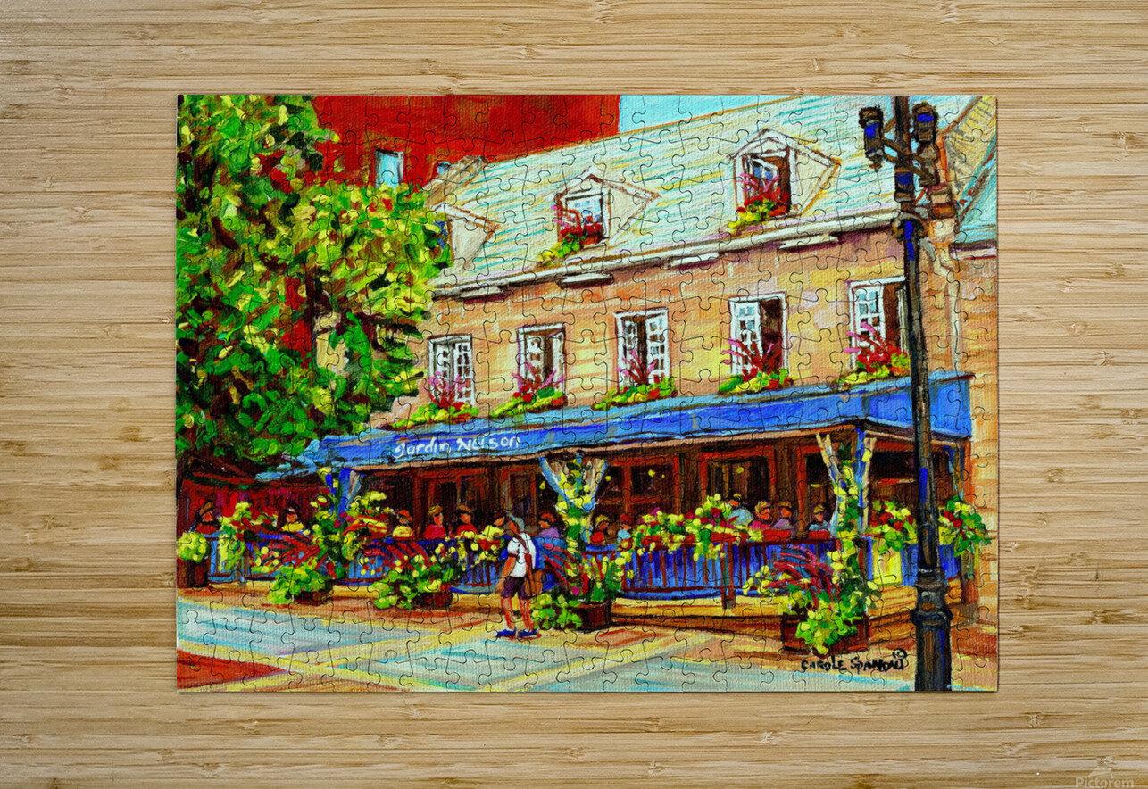 LE JARDIN NELSON OLD MONTREAL RESTAURANT SUMMER STREET SCENE  HD Metal print with Floating Frame on Back