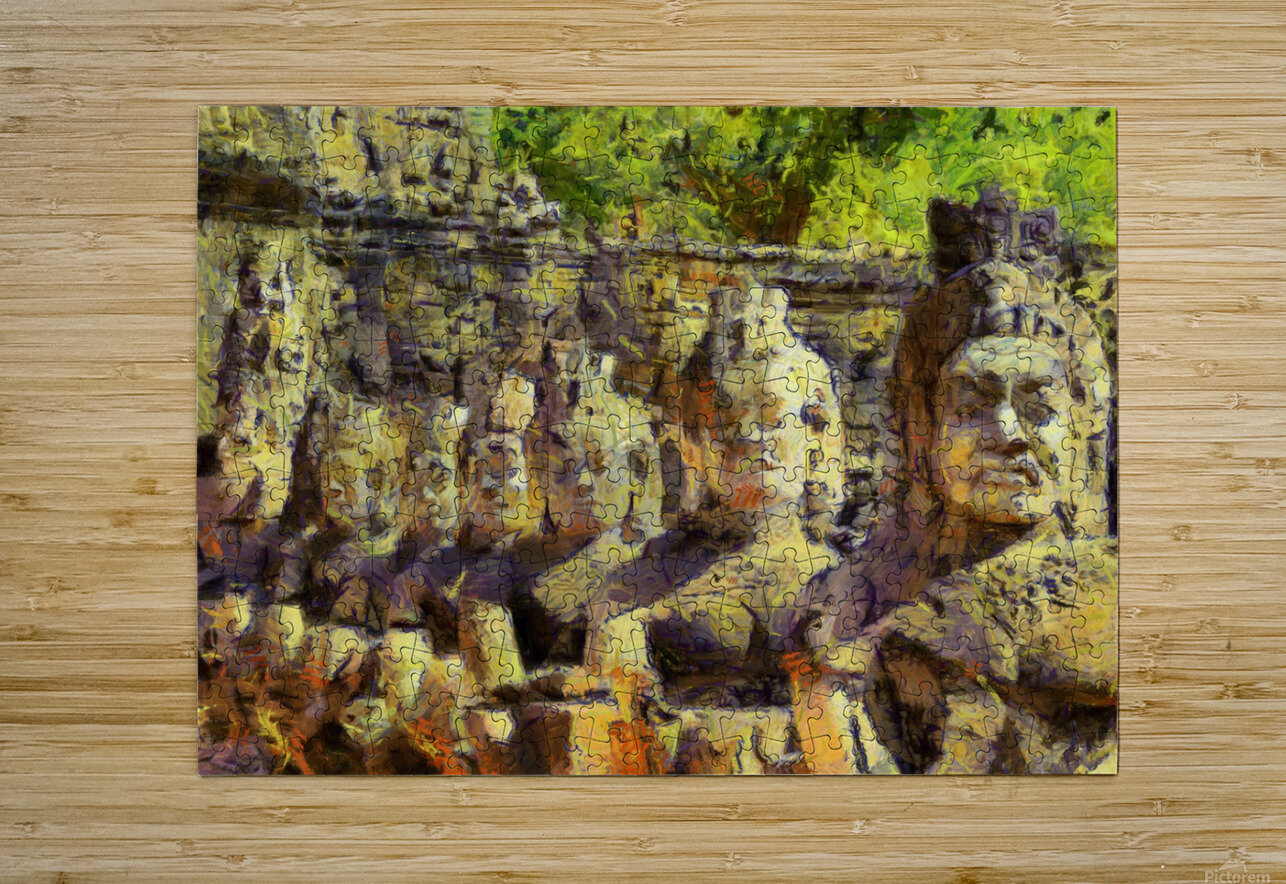 CAMBODIA Angkor Wat oil painting in Vincent van Gogh style. 141  HD Metal print with Floating Frame on Back