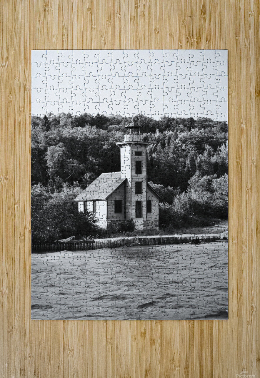 Grand Island Light house BW  HD Metal print with Floating Frame on Back