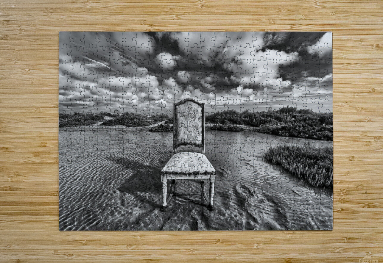 Chair in pool of water - B&W version  HD Metal print with Floating Frame on Back