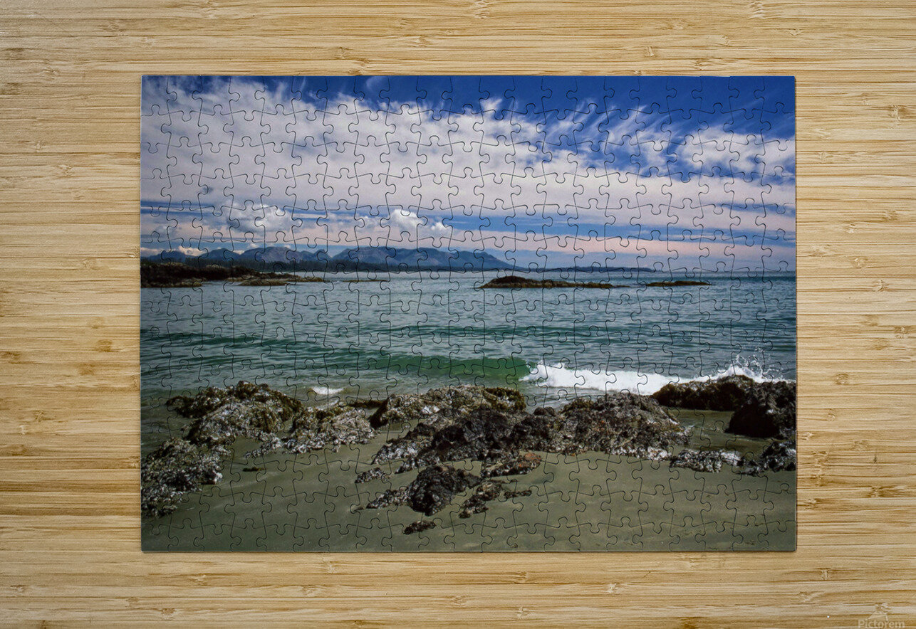 Peaceful Pacific Beach  HD Metal print with Floating Frame on Back