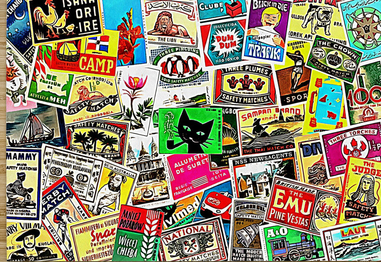 Matchbox Label Collage  HD Metal print with Floating Frame on Back