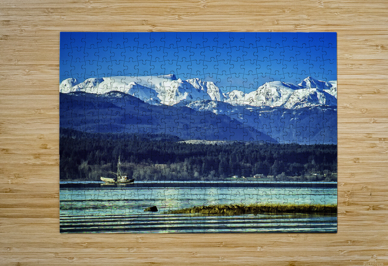 Comox Glacier and Herring Boat  HD Metal print with Floating Frame on Back