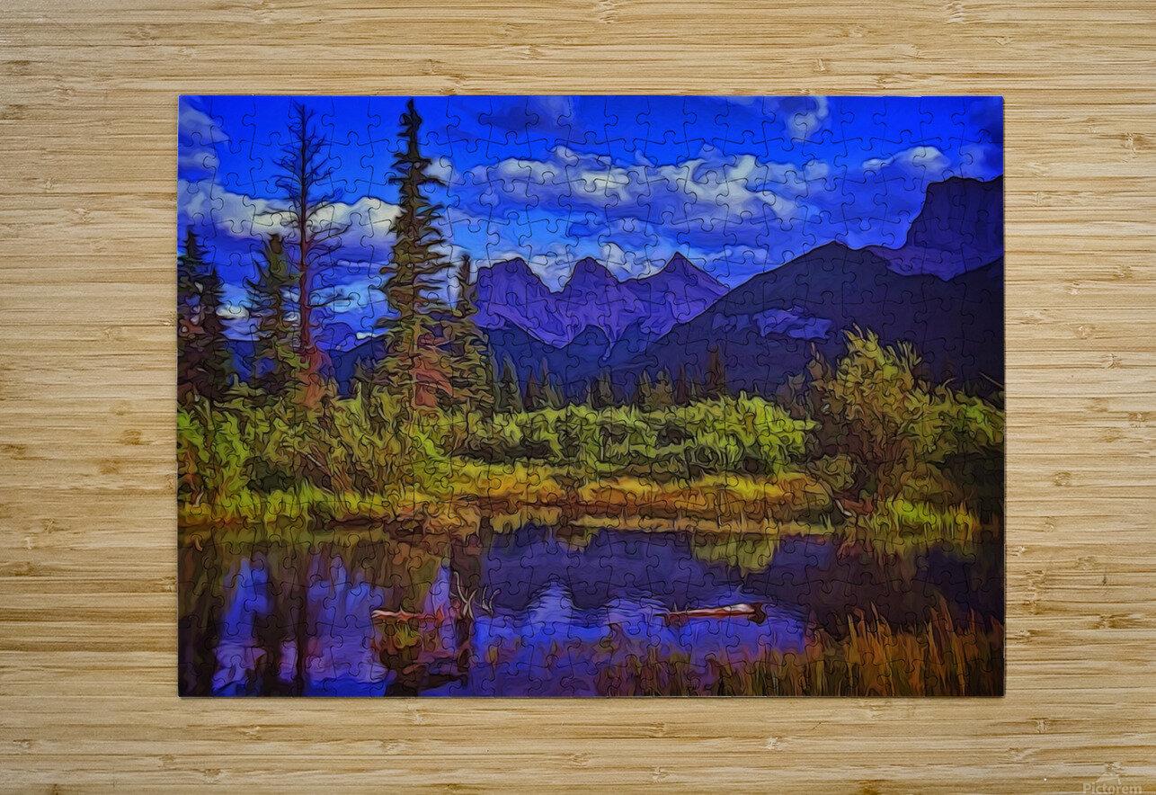 Three Sisters Peaks  HD Metal print with Floating Frame on Back