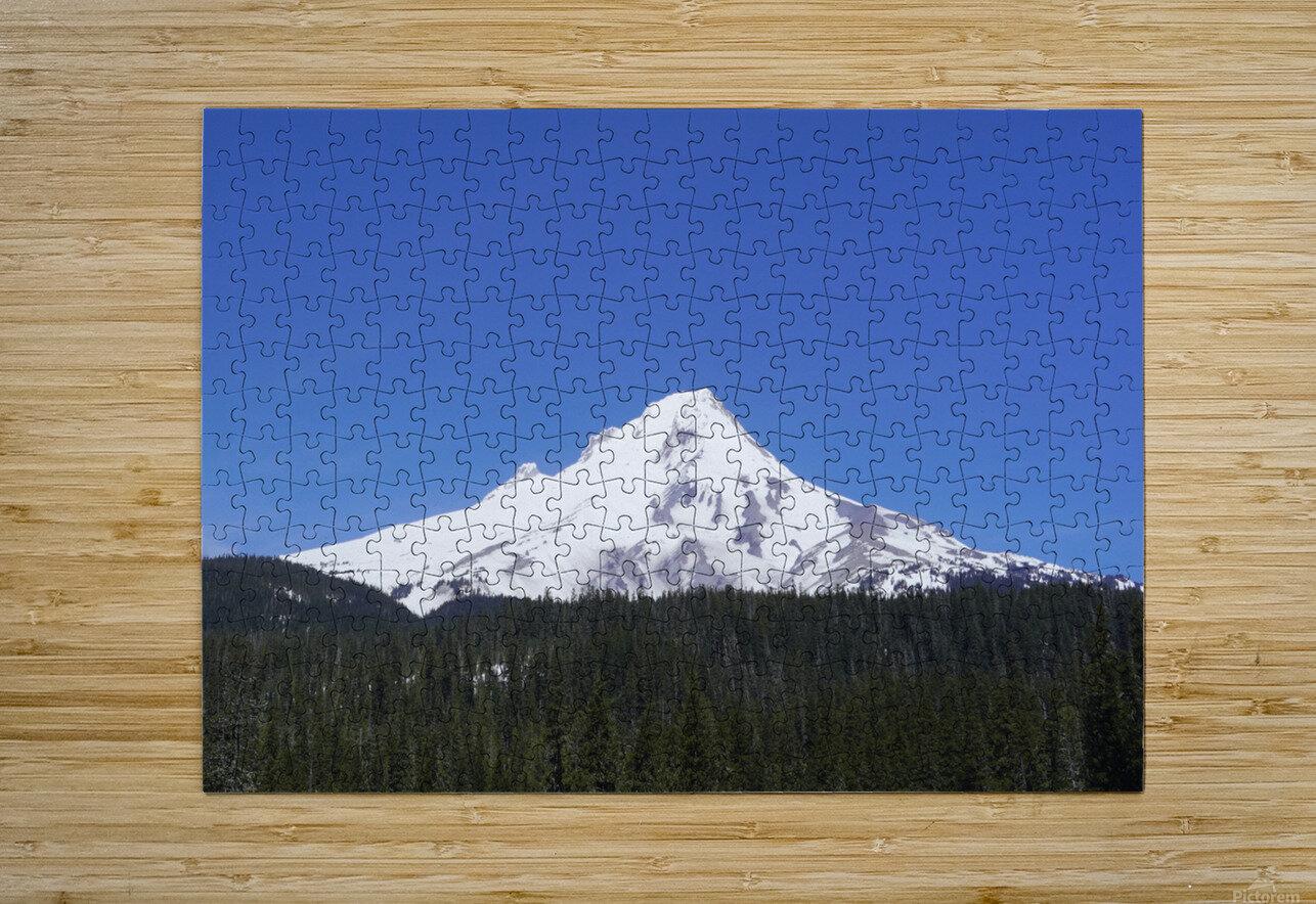 Blue Skies over Mount Hood  HD Metal print with Floating Frame on Back