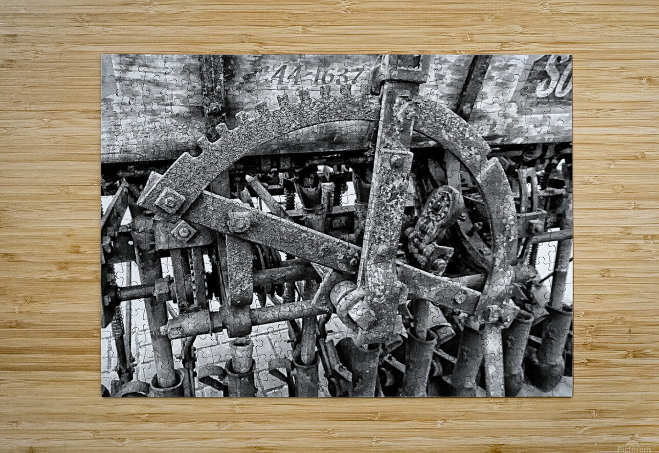 Antique Ploughing Machinery Black and White  HD Metal print with Floating Frame on Back