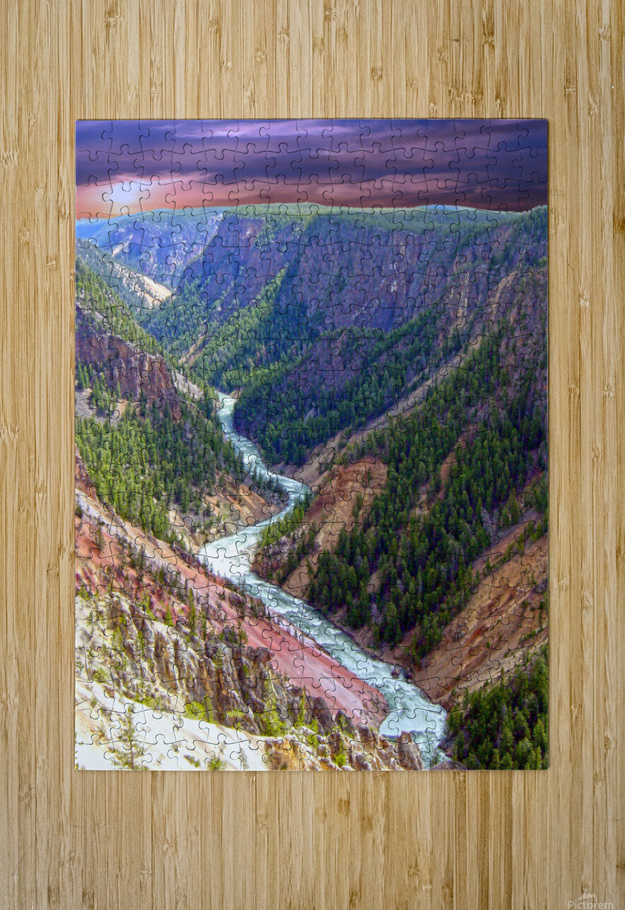 Grand Canyon of Yellowstone in the Waning Light of Day - Yellowstone National Park at Sunset  HD Metal print with Floating Frame on Back