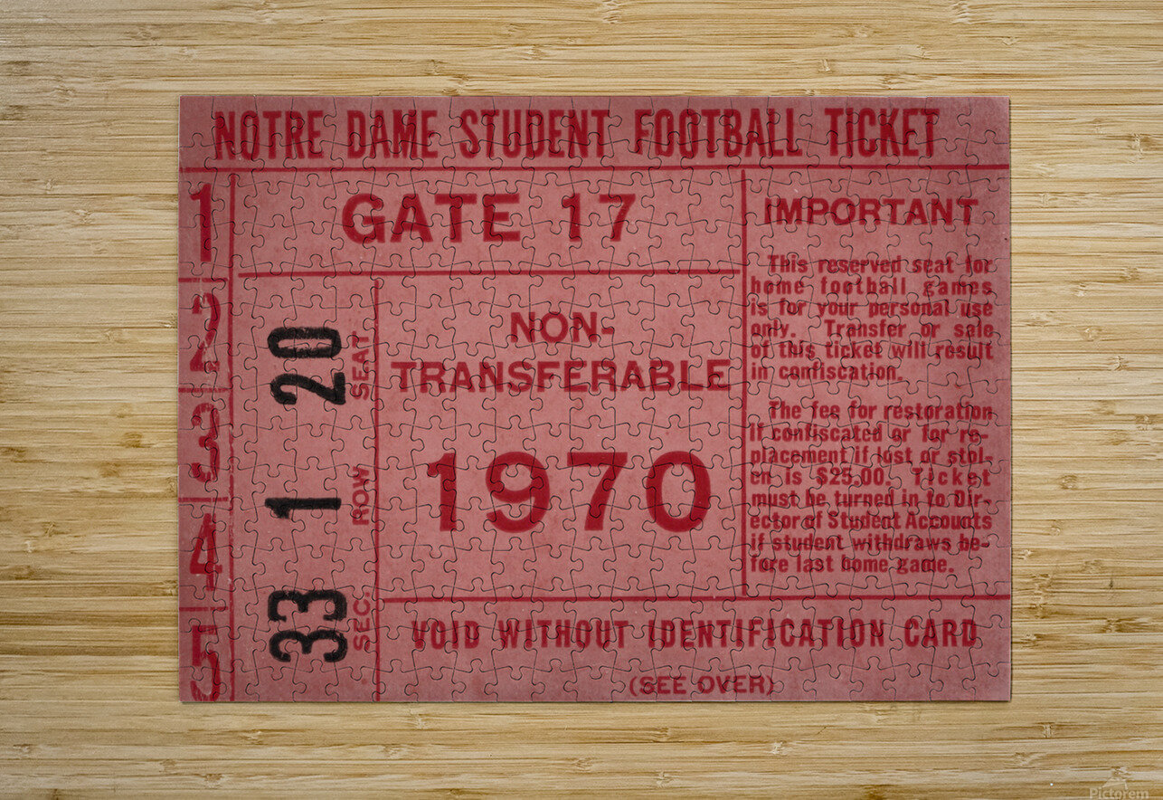 1970 Notre Dame Football Student Season Ticket Art  HD Metal print with Floating Frame on Back