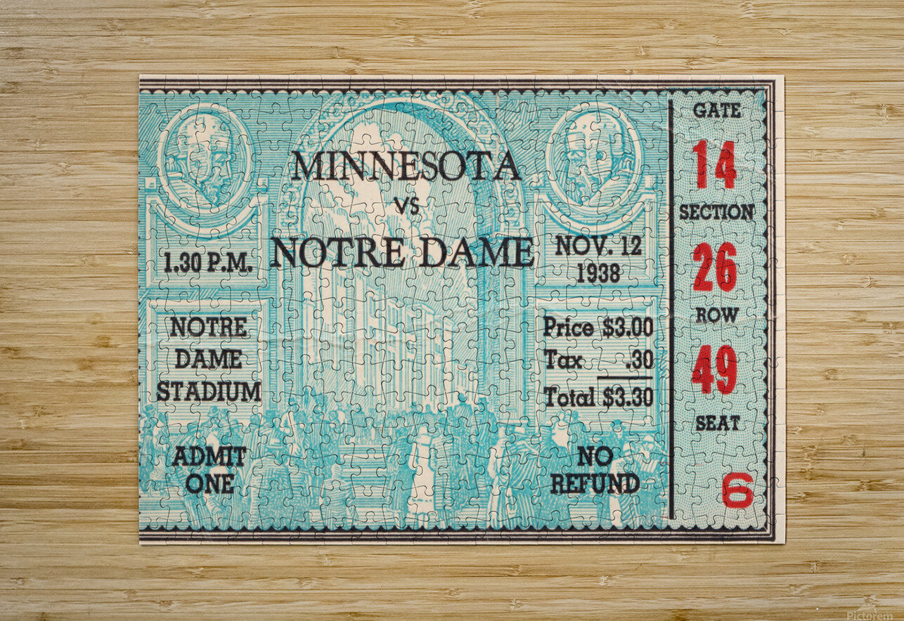 1938 Minnesota vs. Notre Dame Football Ticket Canvas  HD Metal print with Floating Frame on Back
