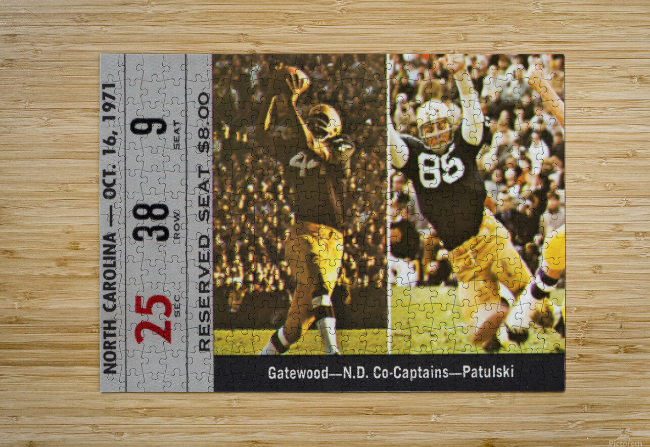 1971 Notre Dame vs. North Carolina Football Ticket Canvas  HD Metal print with Floating Frame on Back