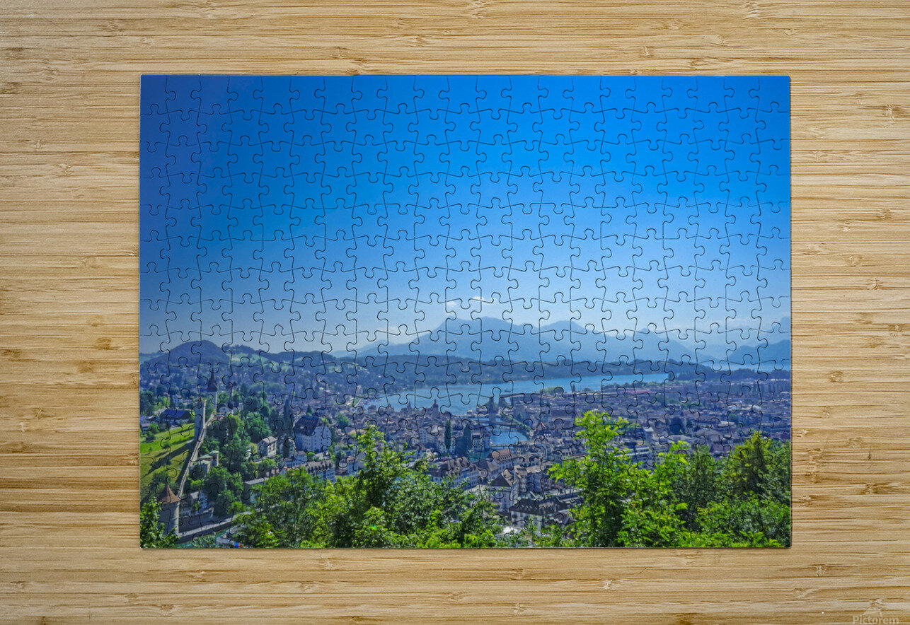 Stunning View Musegg Wall to Chapel Bridge to Lucerne and the Alps   Lucerne Switzerland  HD Metal print with Floating Frame on Back