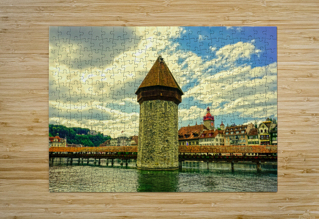 Spectacular Sunset Skies over Chapel Bridge Lucerne Switzerland  HD Metal print with Floating Frame on Back