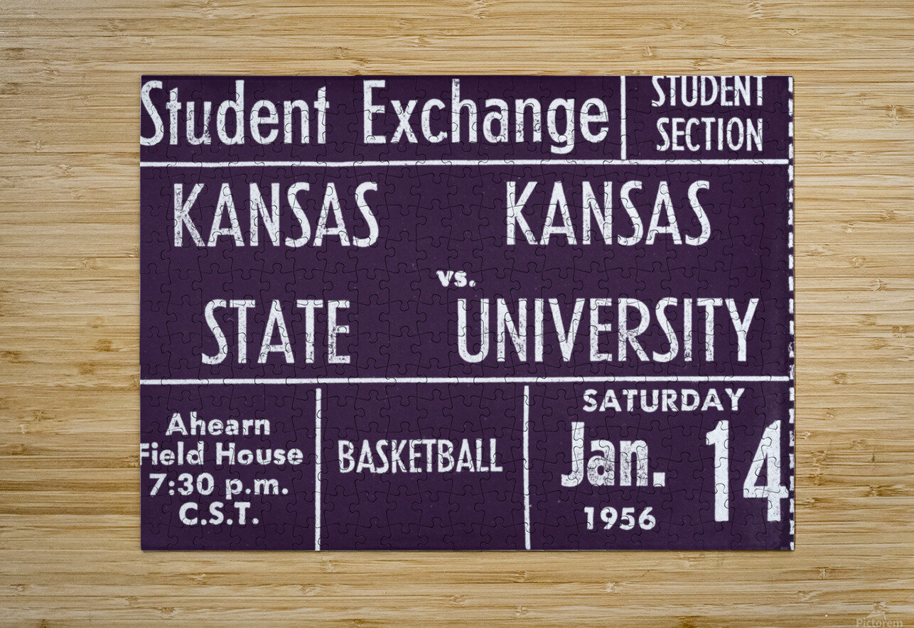 1956 Kansas State vs. Kansas Basketball Ticket Remix Art  HD Metal print with Floating Frame on Back