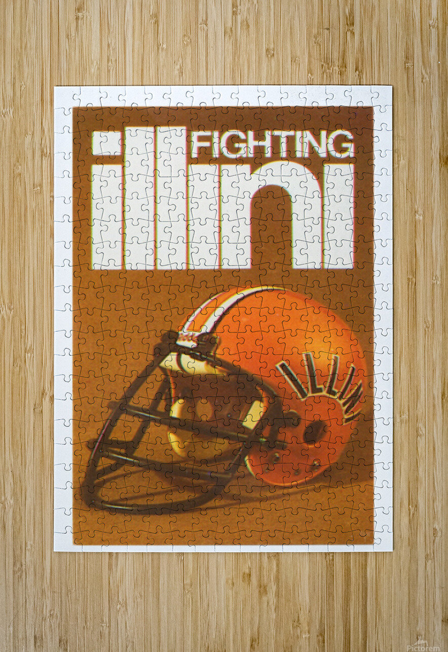 1980 Illinois Illini Football Poster  HD Metal print with Floating Frame on Back