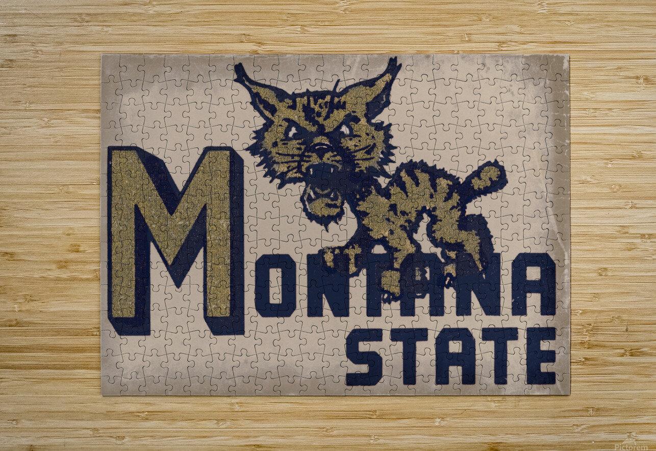 Vintage Montana State Bobcat Art  HD Metal print with Floating Frame on Back