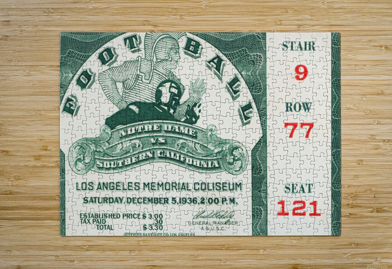 1936 Notre Dame vs. USC Football Ticket Art  HD Metal print with Floating Frame on Back