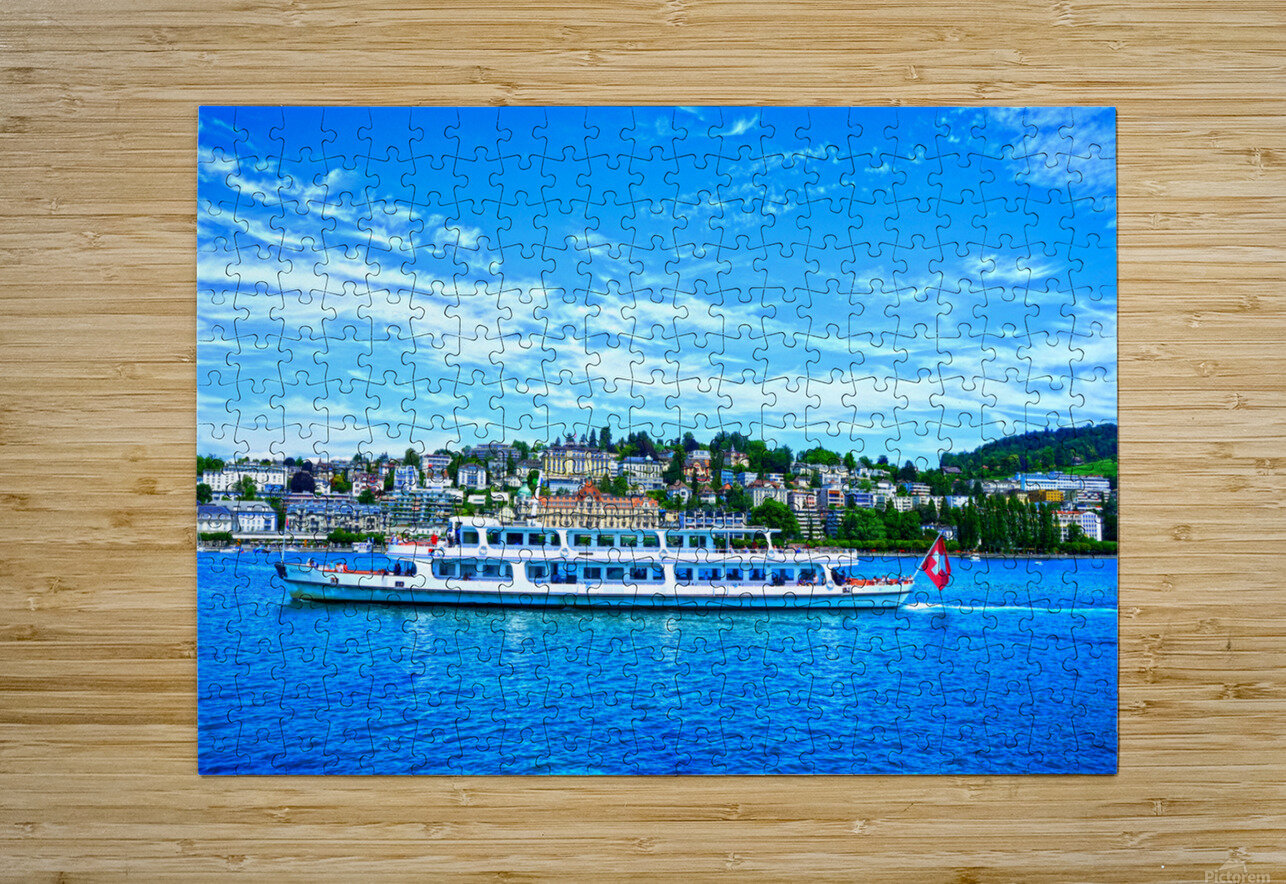 Cruise Boat On Lake Lucerne with City in Background in Switzerland  HD Metal print with Floating Frame on Back