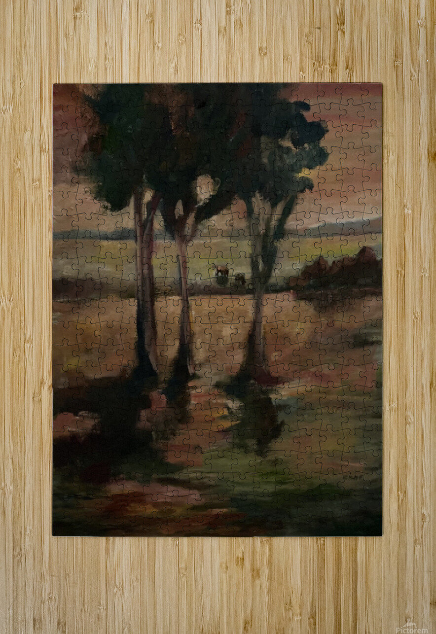 Three trees  HD Metal print with Floating Frame on Back