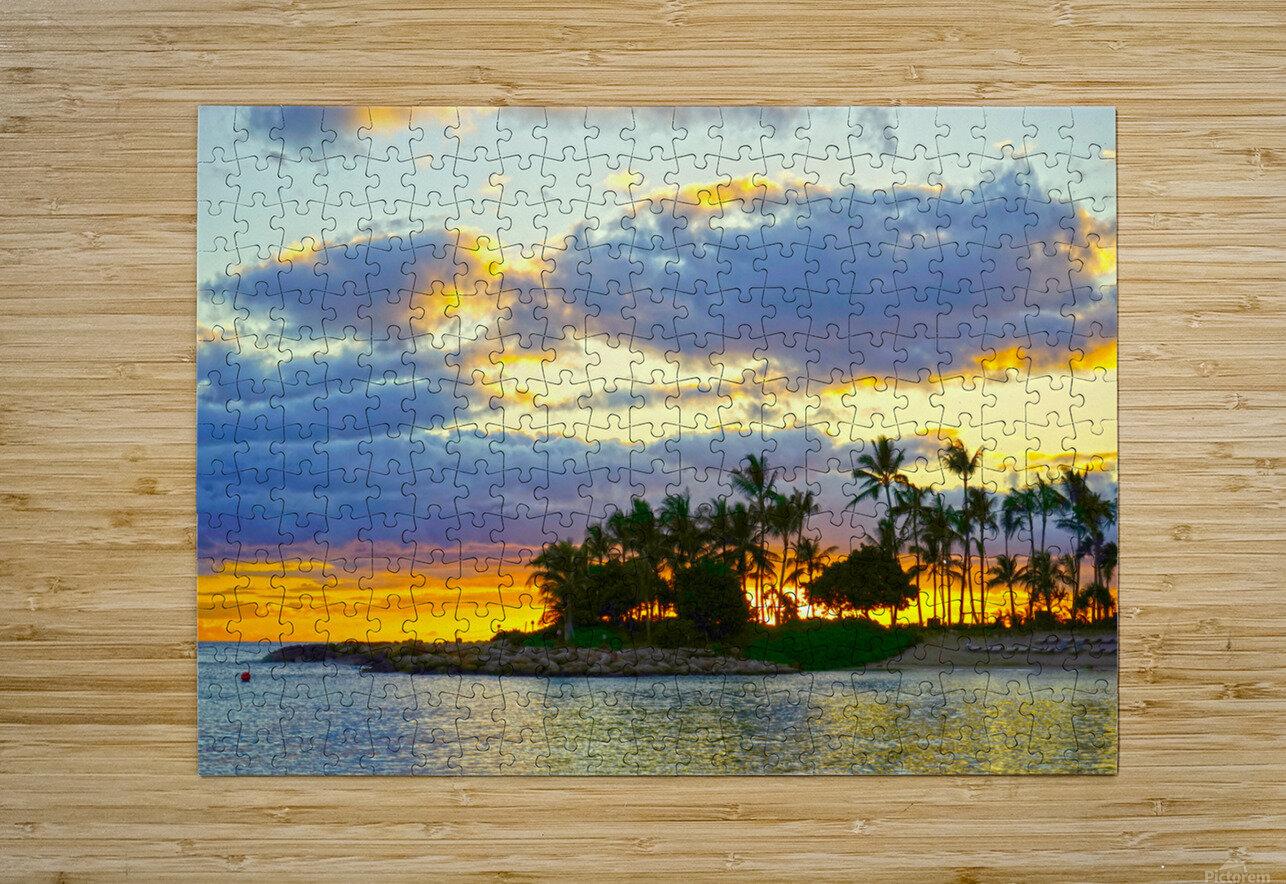 Sunset over Kaula Bay Hawaii  HD Metal print with Floating Frame on Back