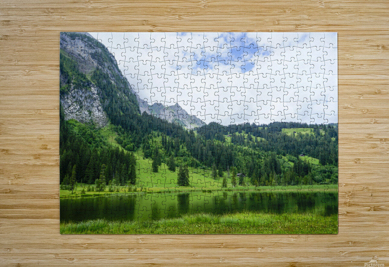Quiet Morning on the Lake in the Swiss Highlands  HD Metal print with Floating Frame on Back