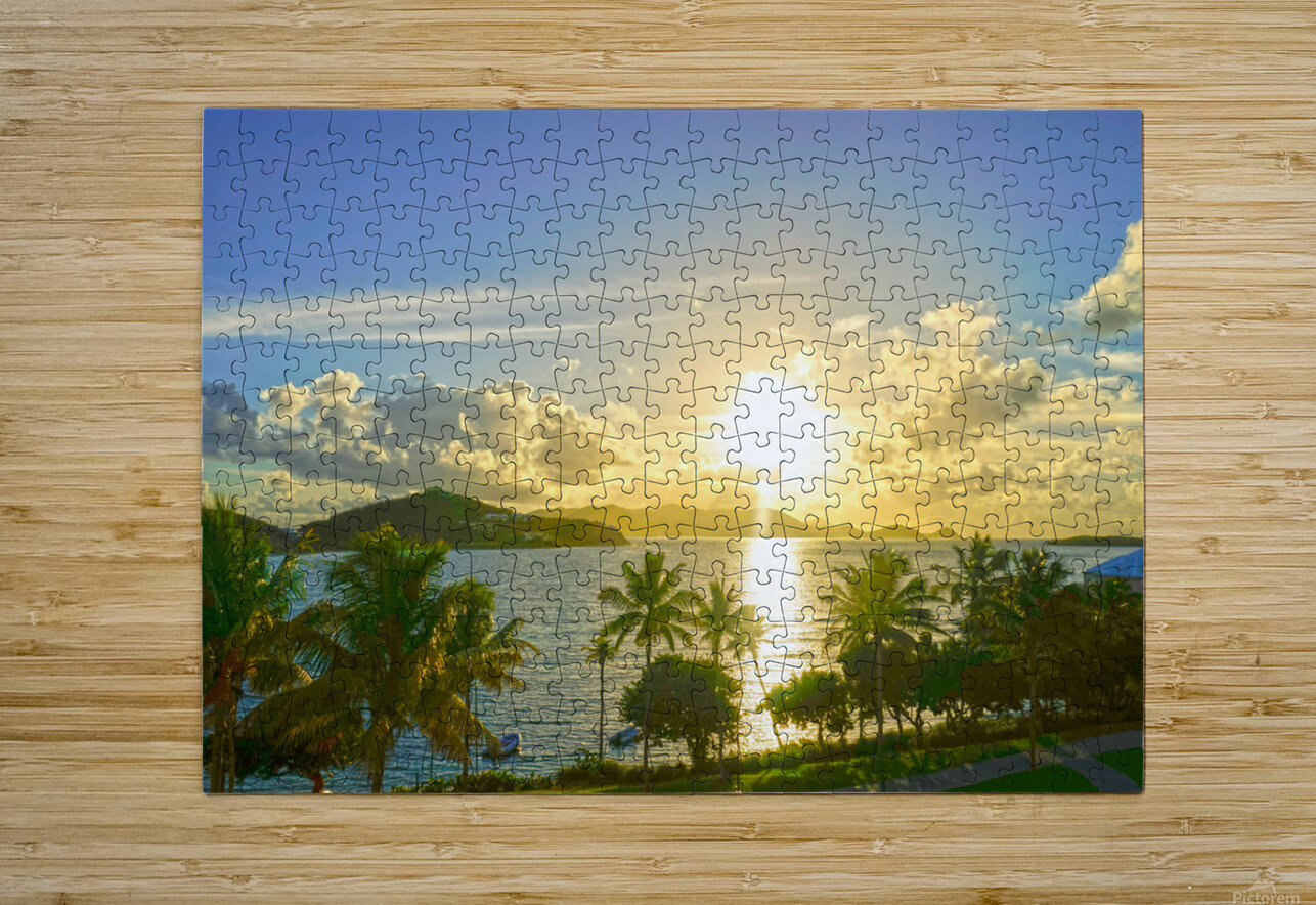 Sunset over Saint Thomas in the Caribbean Islands  HD Metal print with Floating Frame on Back