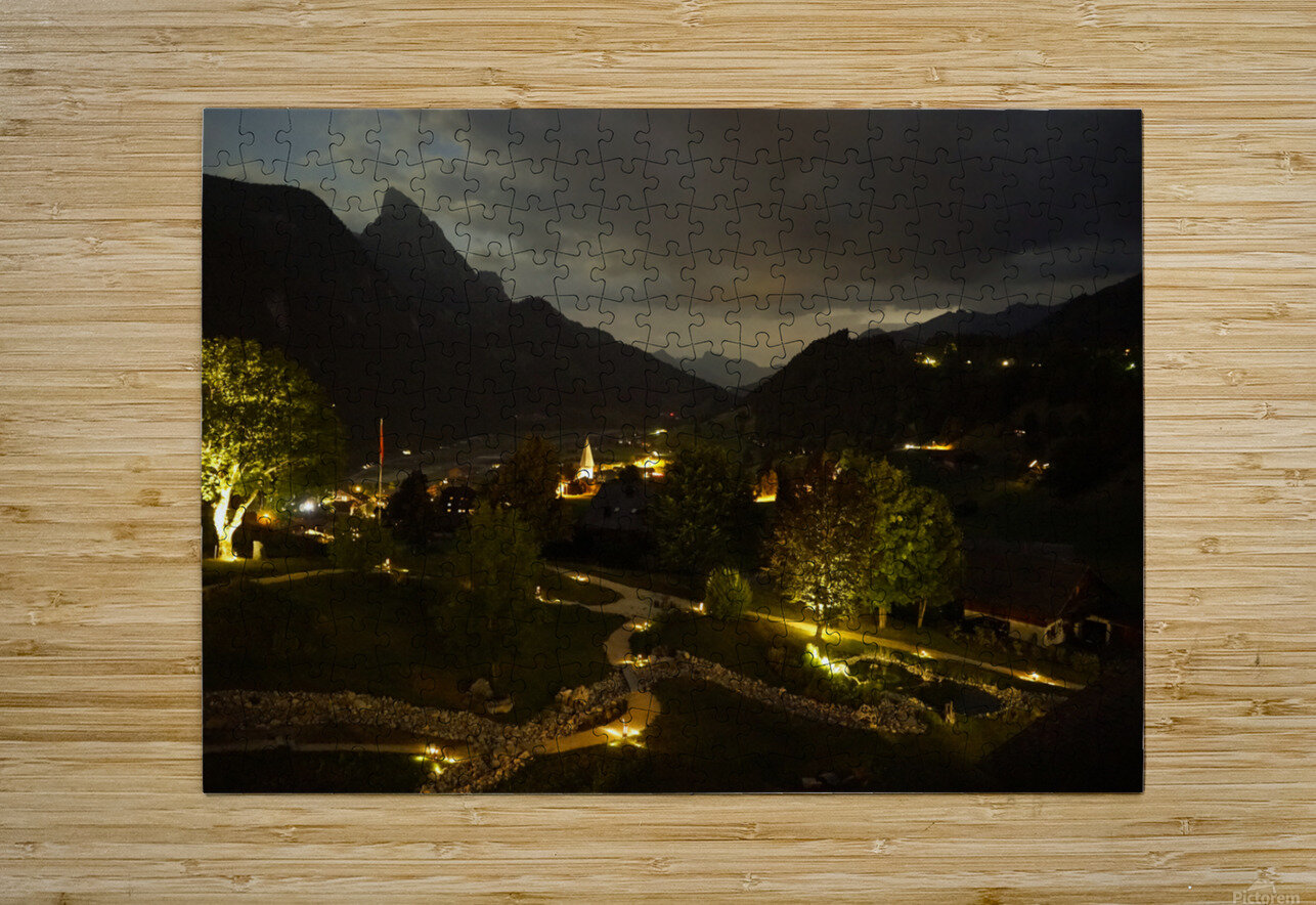 Night Arrives in the Saanen Valley in Switzerland  HD Metal print with Floating Frame on Back