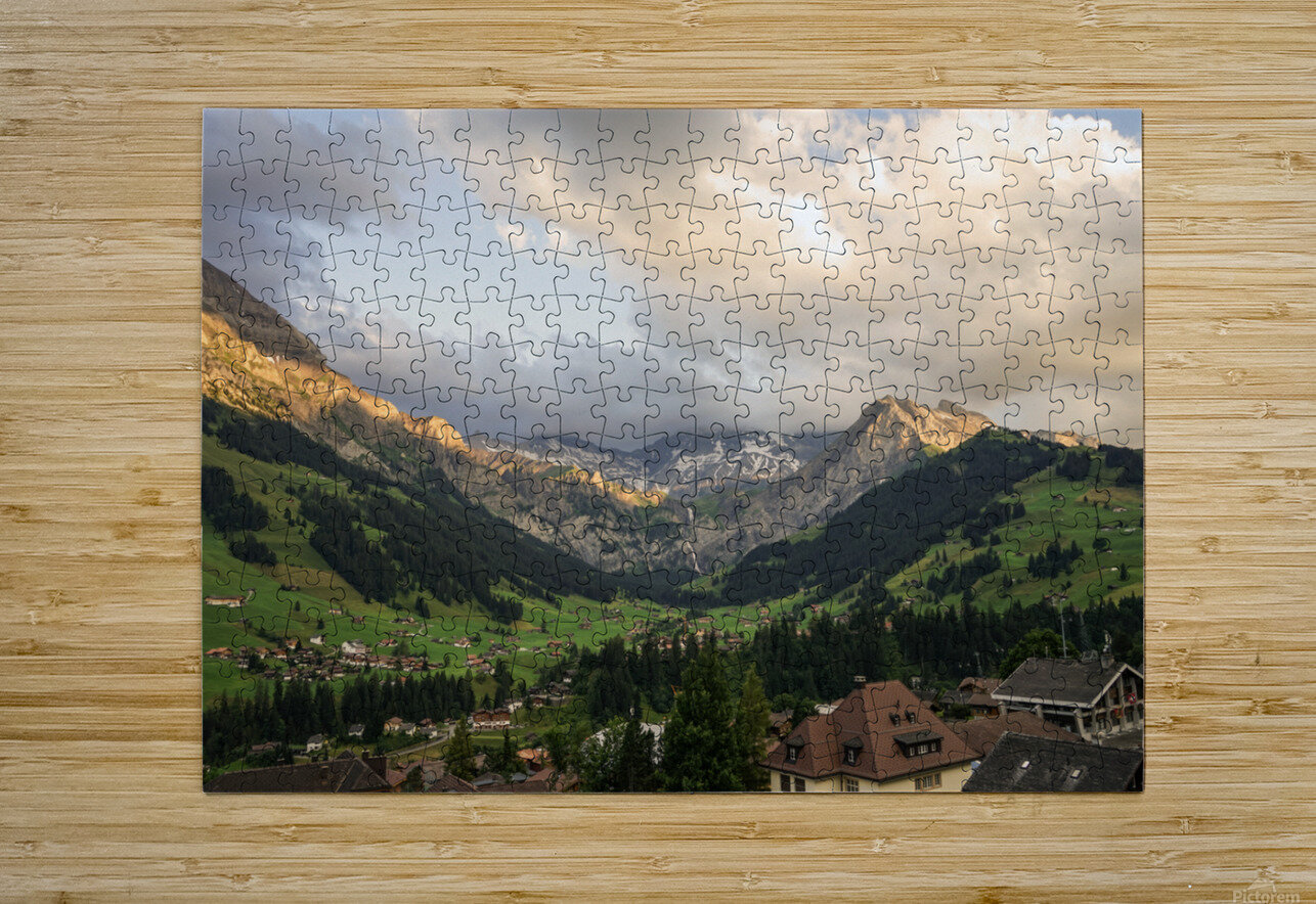 Golden Rays of the Sun Across the Mountains at Sunset in Switzerland 2 of 2  HD Metal print with Floating Frame on Back