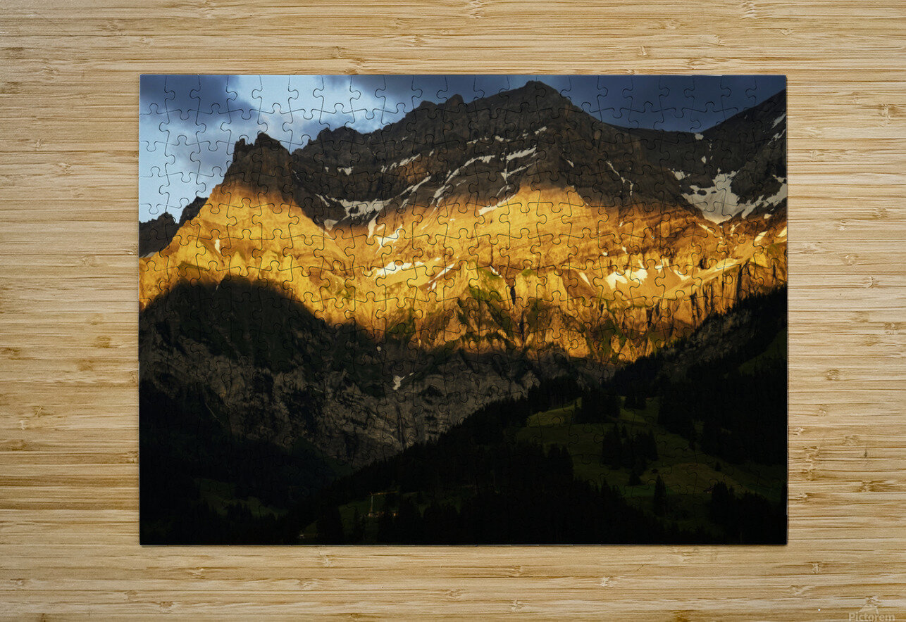 Mountain Bathed in the Golden Rays of the Sun at Sunset in Switzerland 2 of 3  HD Metal print with Floating Frame on Back