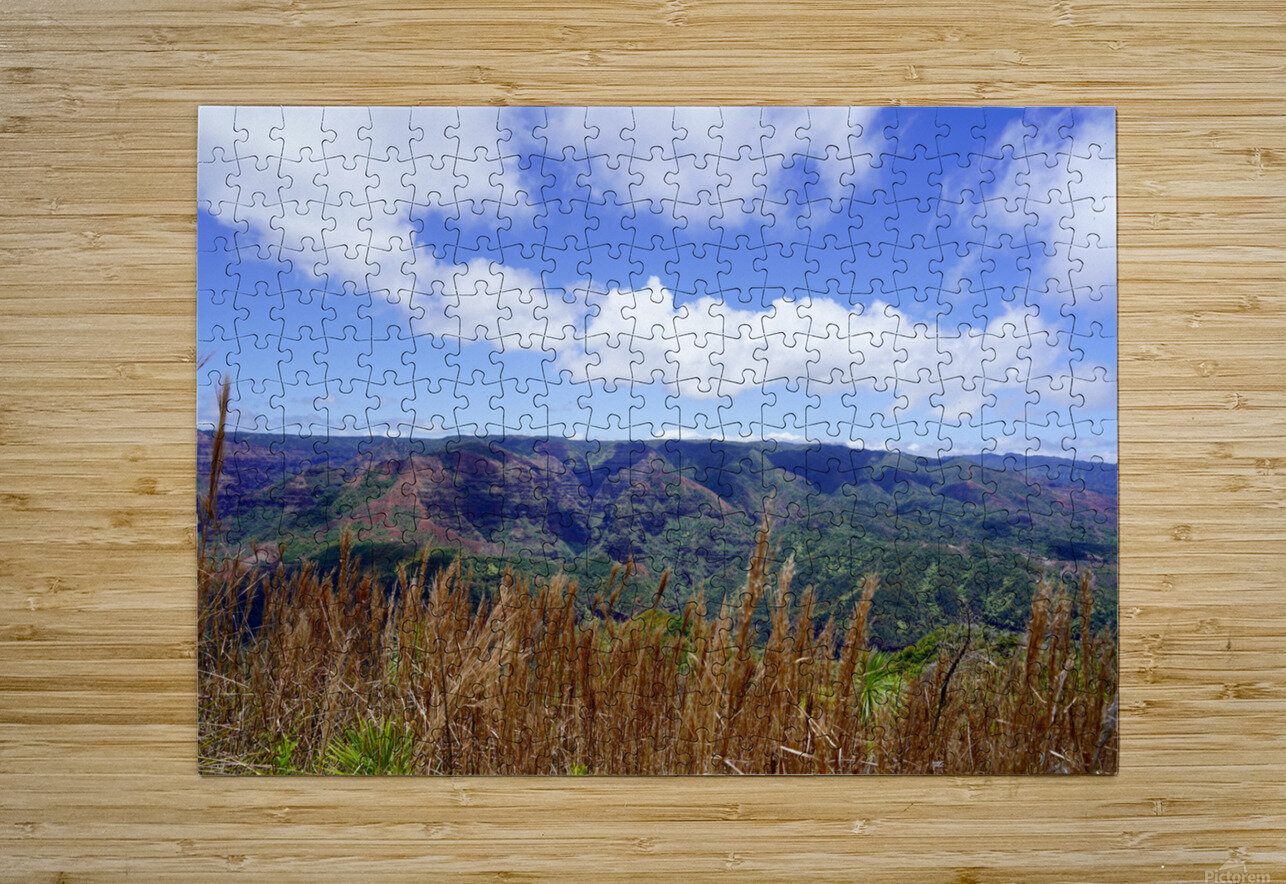 Beautiful View to Distant Waipoo Falls in Waimea Canyon on the Island of Kauai  HD Metal print with Floating Frame on Back