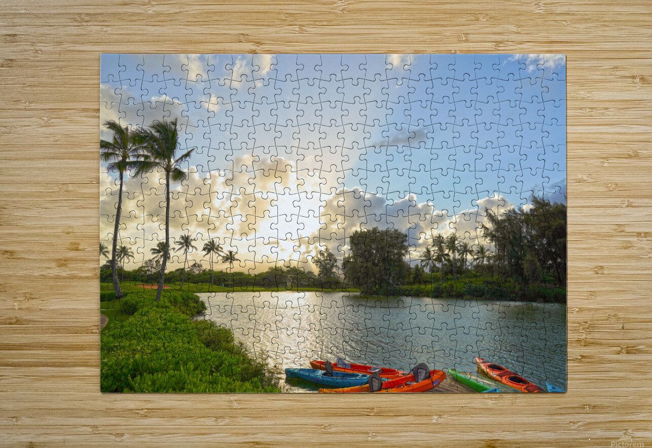 Sunset by the Lakeshore in Kauai  HD Metal print with Floating Frame on Back