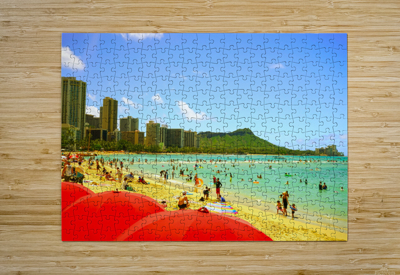 Waikiki Snapshot in Time 1 of 4  HD Metal print with Floating Frame on Back