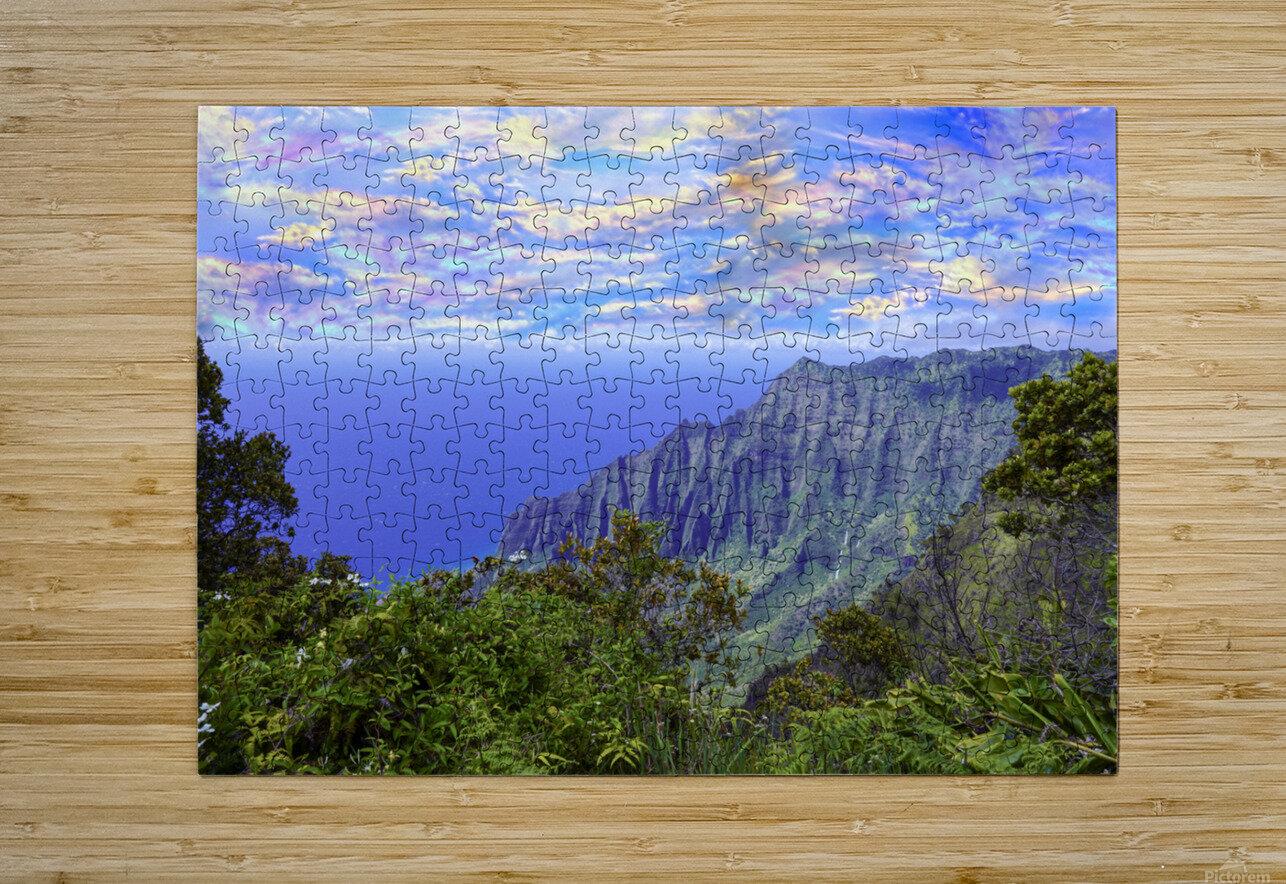 Sunset at Puu O Kila Lookout Kohala Mountains on the Island of Kauai in Hawaii  HD Metal print with Floating Frame on Back