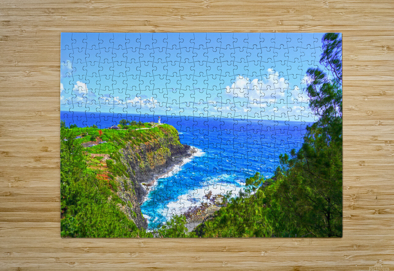 Kilauea Lighthouse in Spring on the Island of Kauai  HD Metal print with Floating Frame on Back