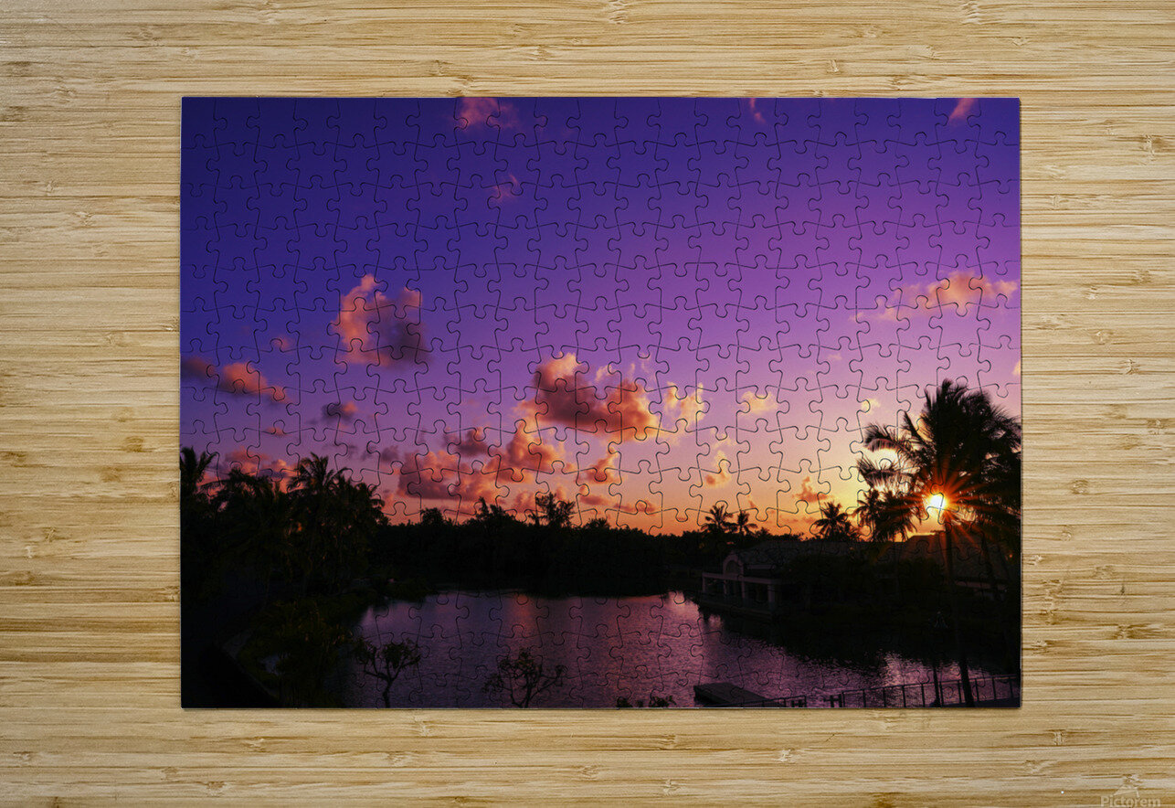 Sunrise over the Lagoon in Kauai  HD Metal print with Floating Frame on Back