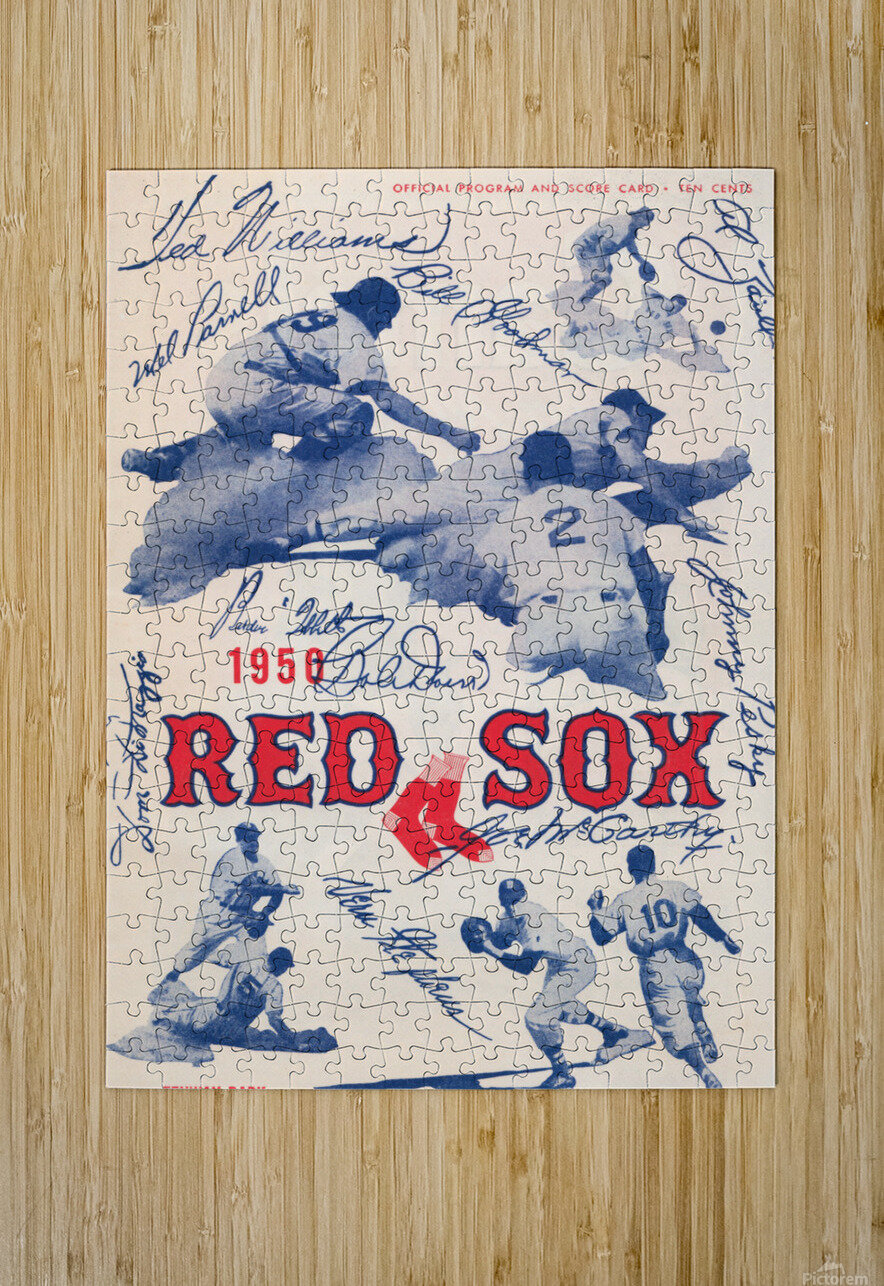 1950 Boston Red Sox Score Book Canvas Art  HD Metal print with Floating Frame on Back