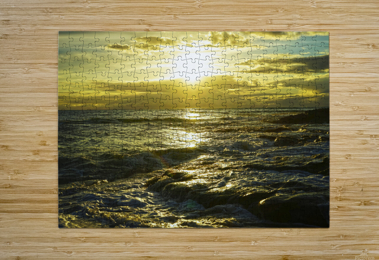 Sunlight and Shadows Play in the Waters at the Bay  HD Metal print with Floating Frame on Back